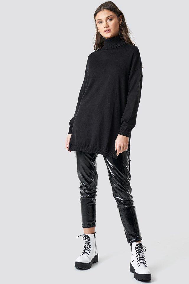 Black Off Shoulder Knitted Sweater