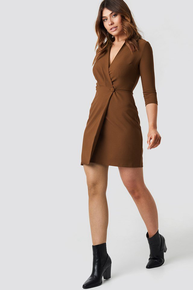 Milla Button Detailed Dress Brown Outfit