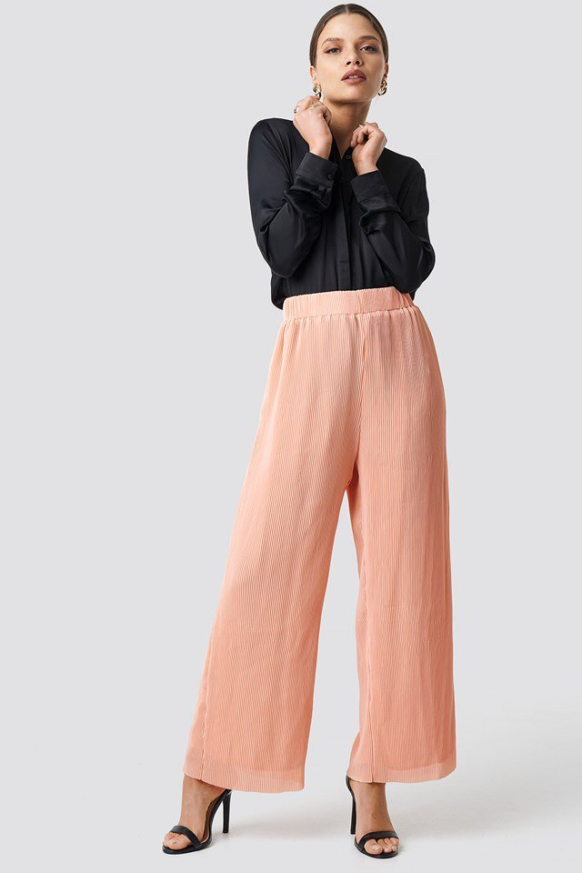 High Waist Wide Trousers Pink Outfit