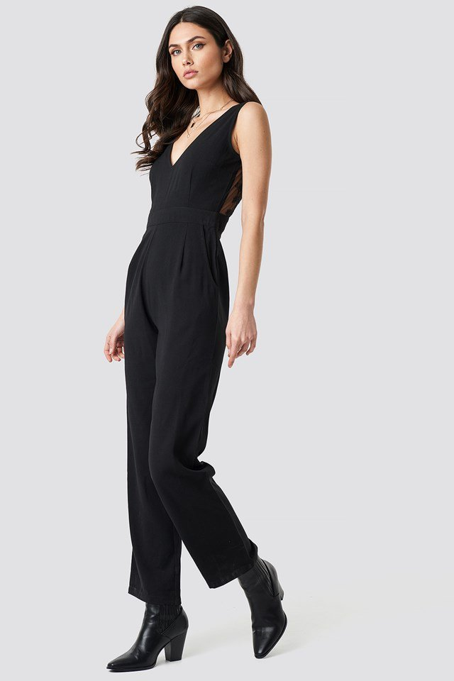 Deep Back Lace Detail Jumpsuit Black Outfit