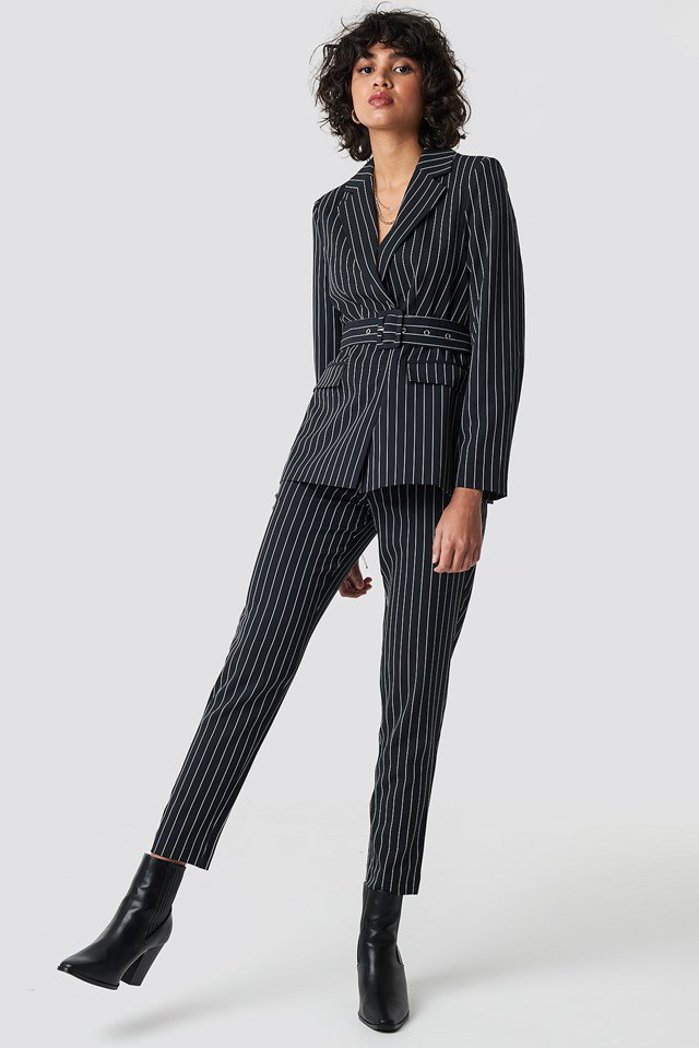 Pinstriped Belted Blazer Black Outfit