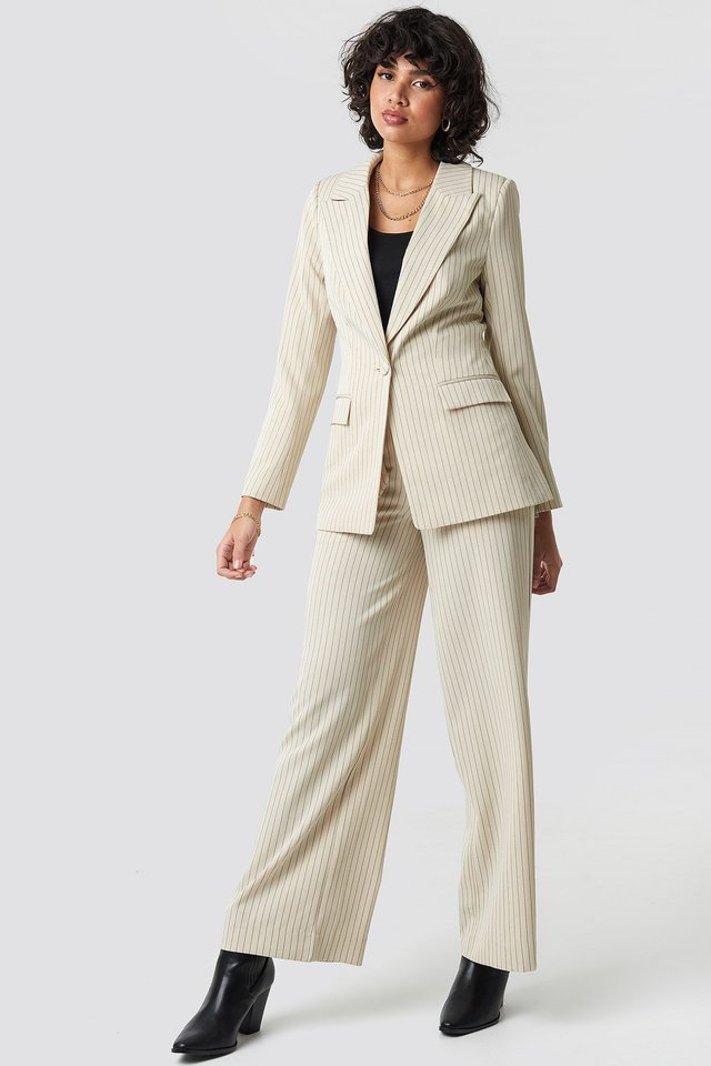 Pinstriped Fitted Blazer Beige Outfit