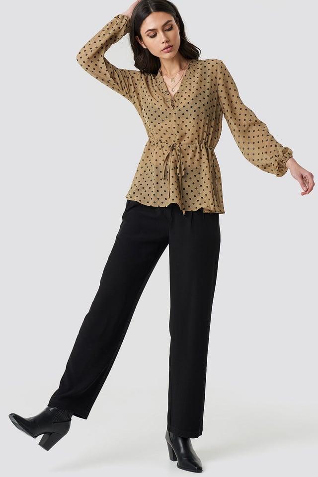 Drawstring Waist Chiffon Blouse Outfit