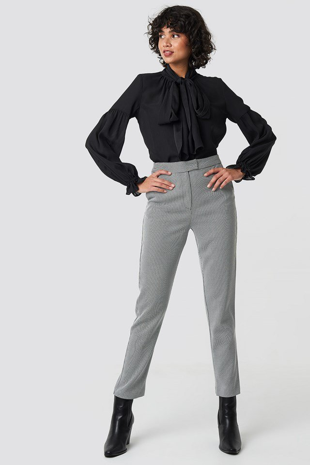 Bow Tie Blouse Black Outfit