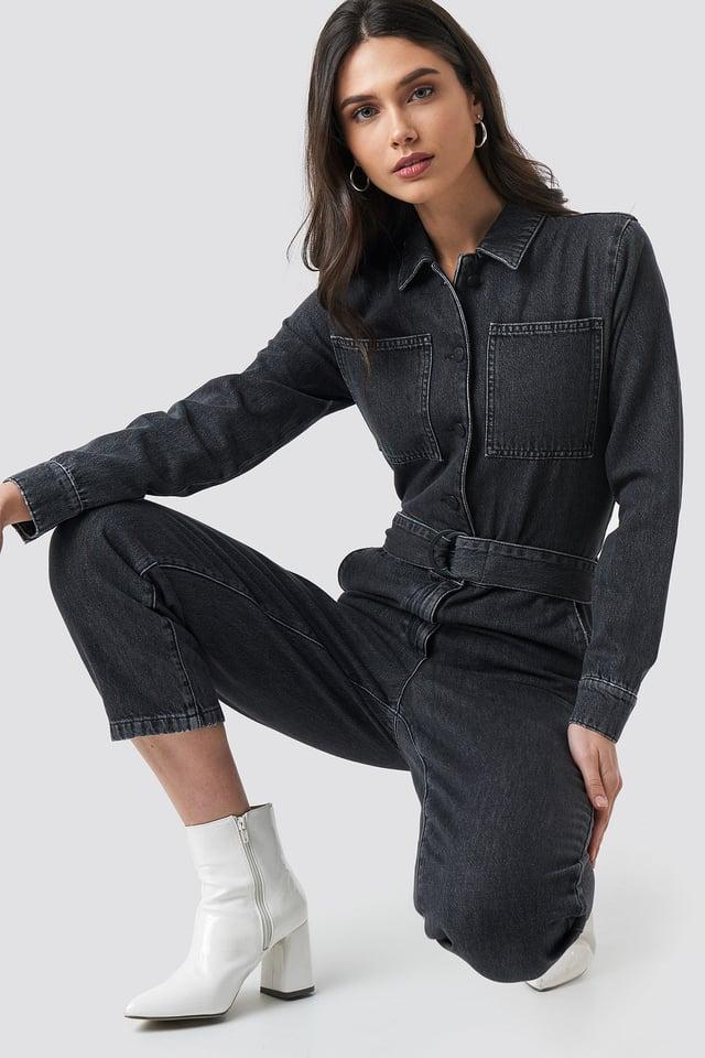 Black Front Pockets Belted Jumpsuit