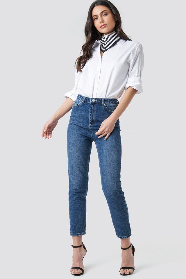 High Waist Mom Jeans Blue Outfit