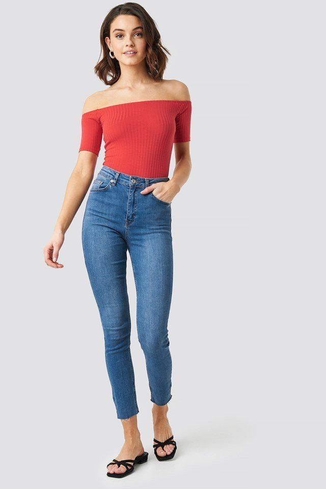 Off Shoulder Ribbed Top Red Outfit