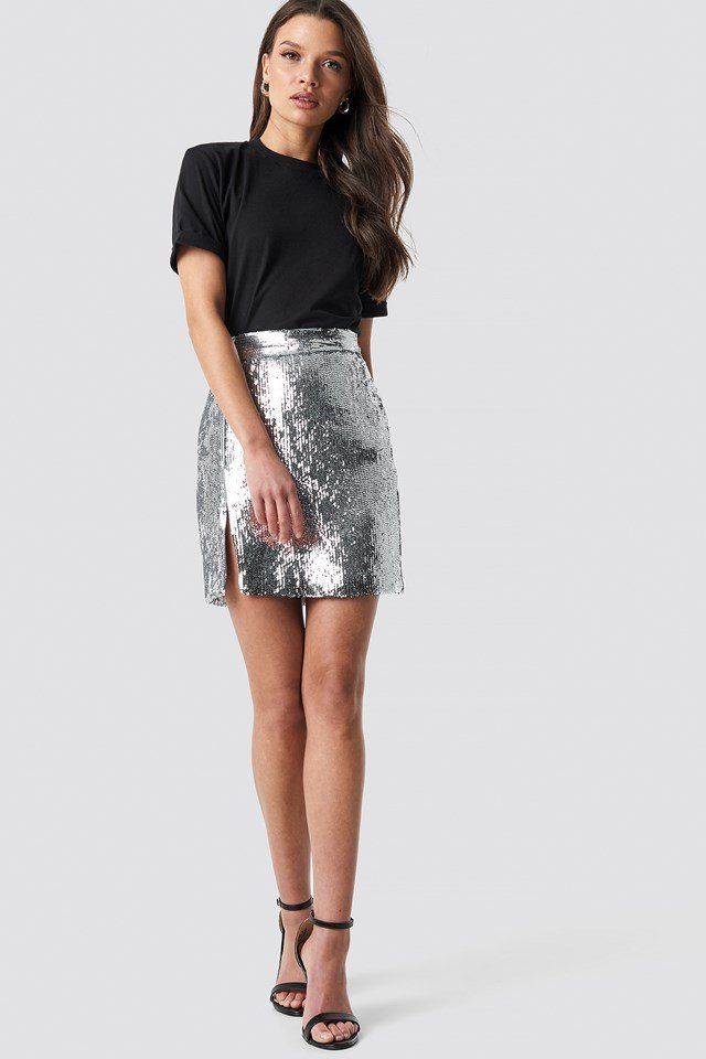 Sequin Mini Skirt Silver Outfit