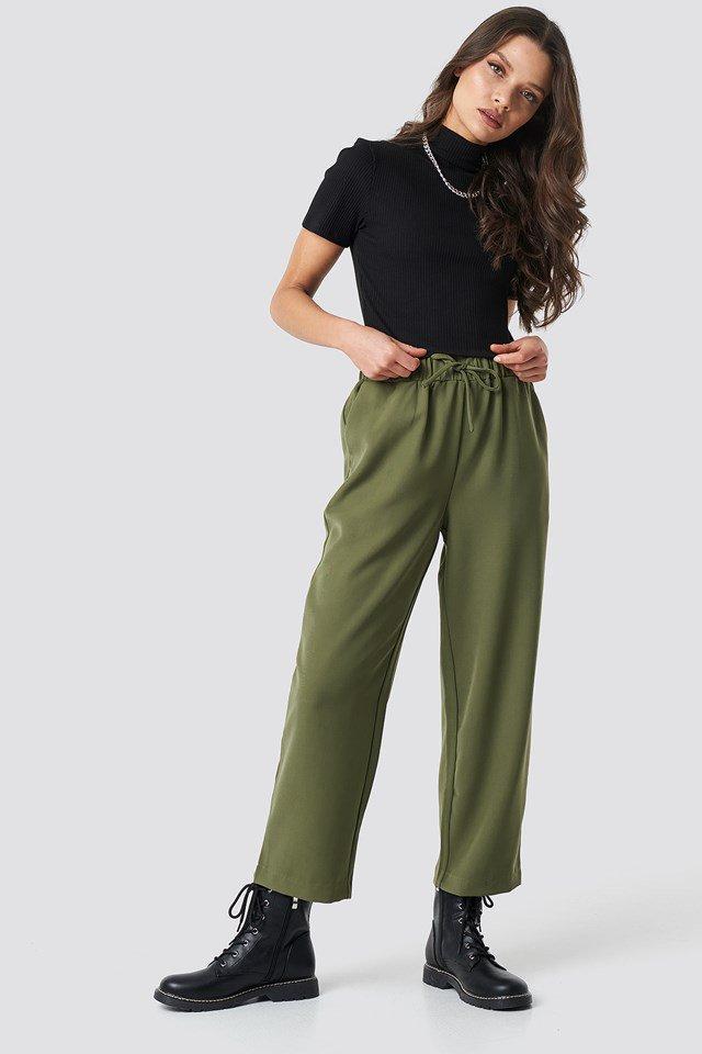 Drawstring Suit Pants Outfit