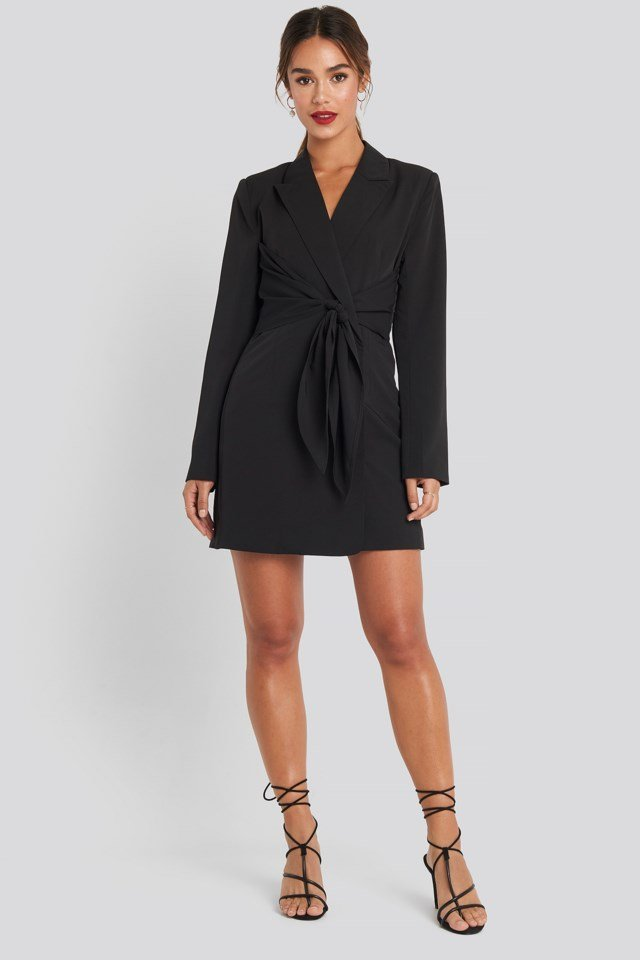 Tie Short Blazer Dress Black Outfit