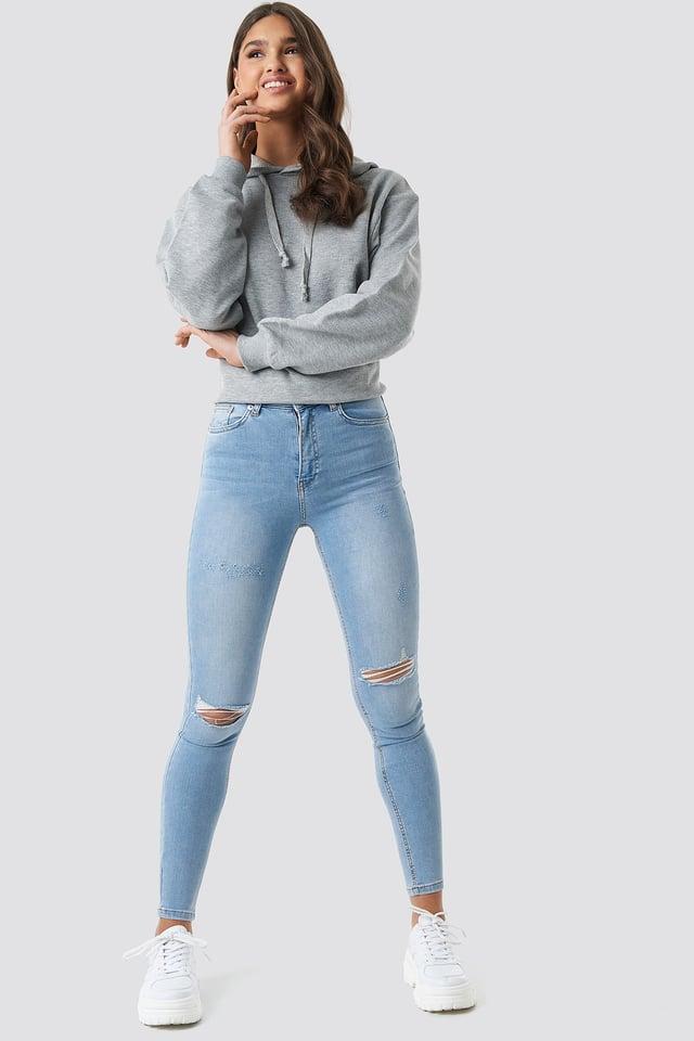 Mid Blue Skinny Mid Waist Destroyed Jeans