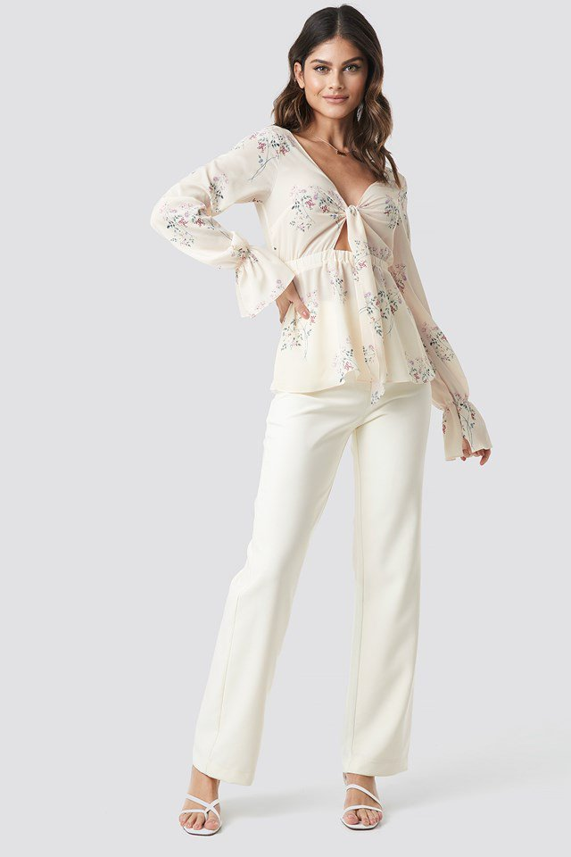 Front Tie Garden Flower Blouse White Outfit