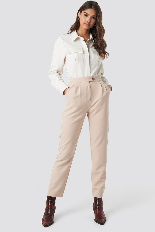 Beige Cigarette Pants Outfit