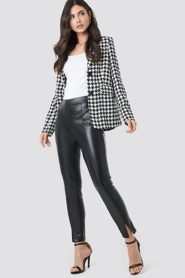 Front Seam Pu Pants Outfit