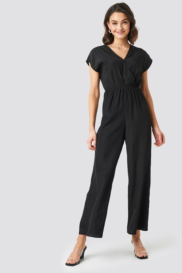 Overlap Solid Jumpsuit Black Outfit.