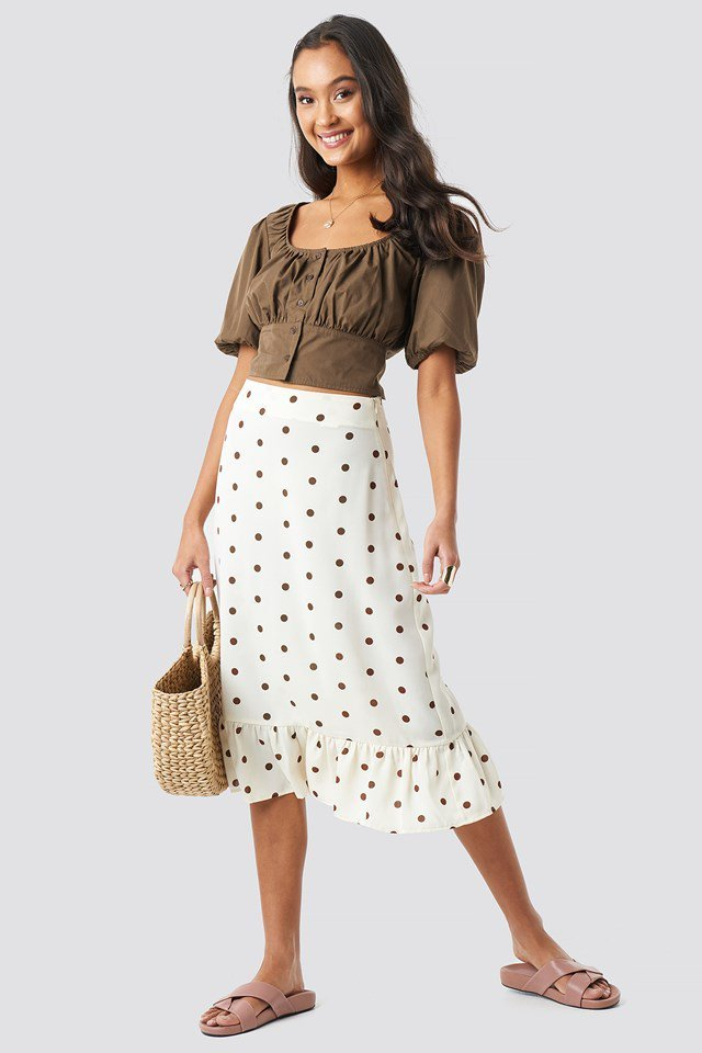 Dotted Flounce Midi Skirt White Outfit