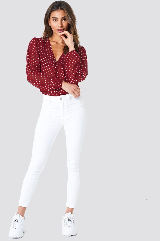 White Pants with Dotted Blouse