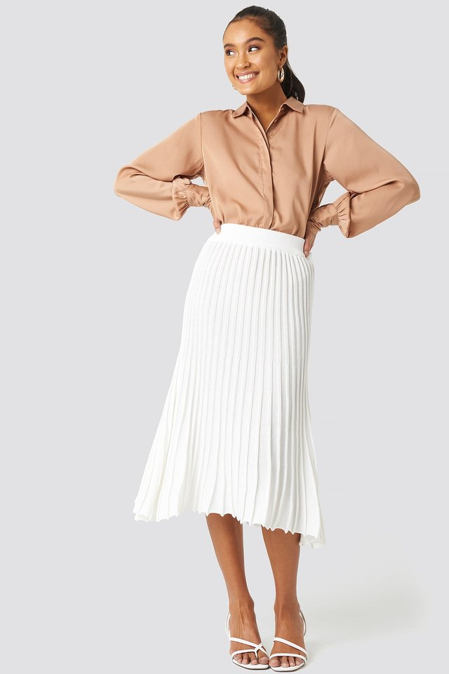 Yol Pleated Midi Skirt Outfit