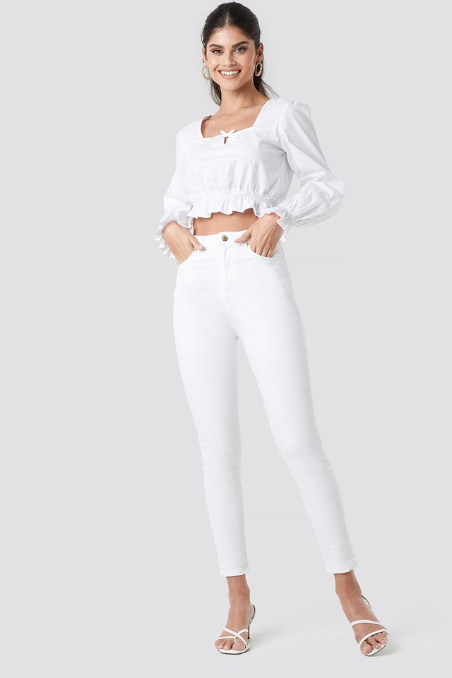 Cropped Frill Long Sleeve Top
