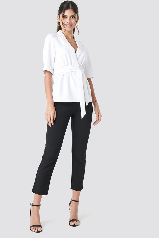 Short Sleeve Tied Blazer White Outfit