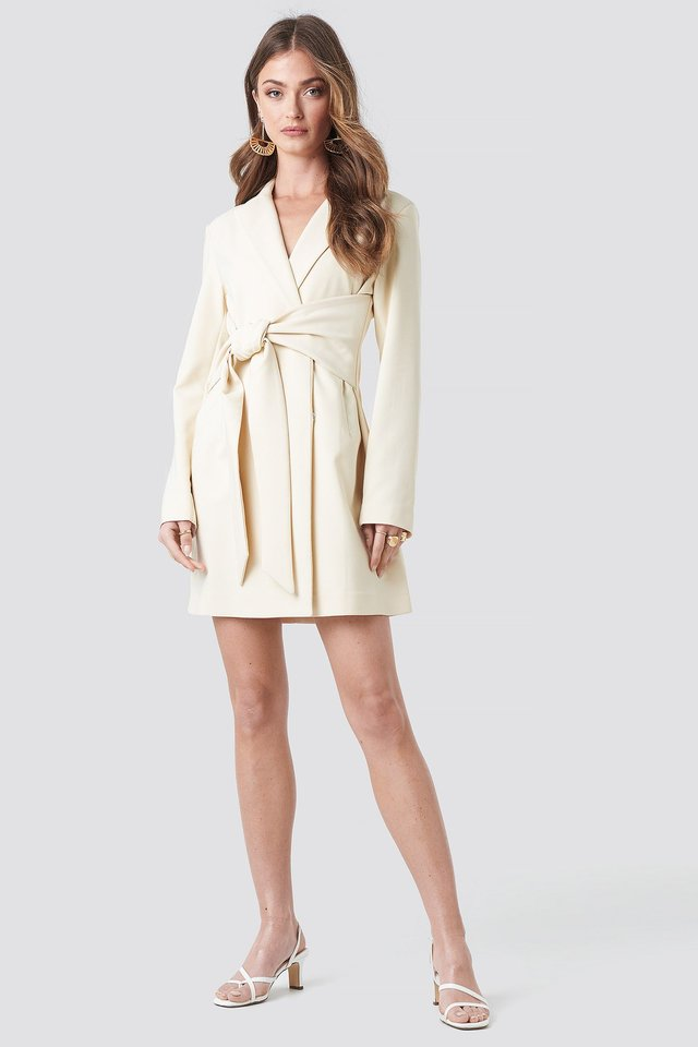 Tied Front Blazer Dress Outfit