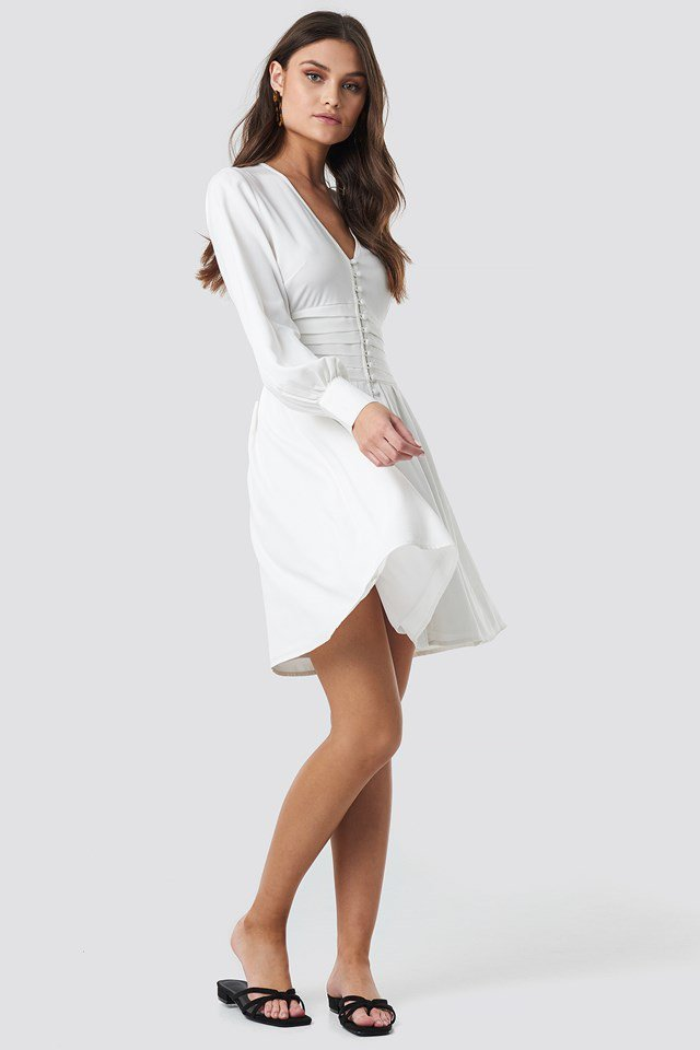 Draped Waist Button Up Dress White Outfit