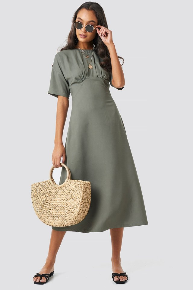Gathered Detail Midi Dress Green Outfit