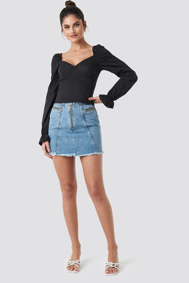 Puffy Sleeve Wire Blouse Black Outfit