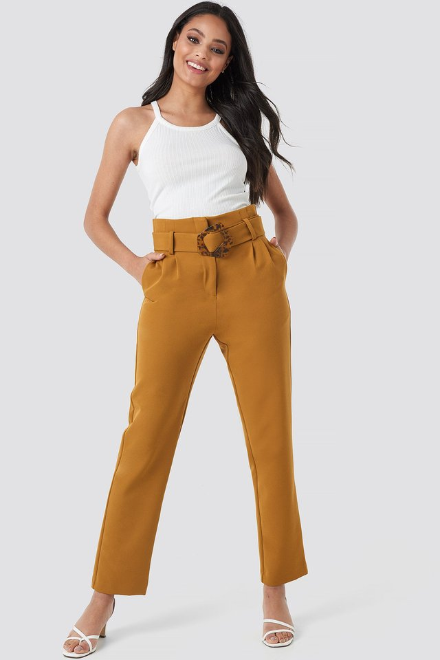 High Waist Asymmetric Belted Pants Outfit