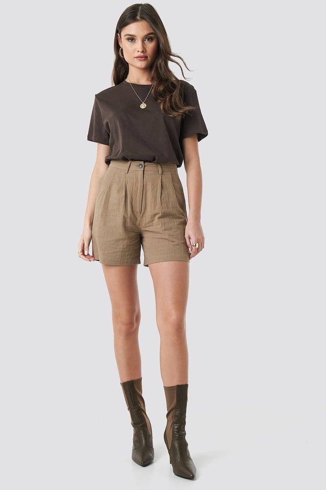 Linen Look Oversized Shorts.