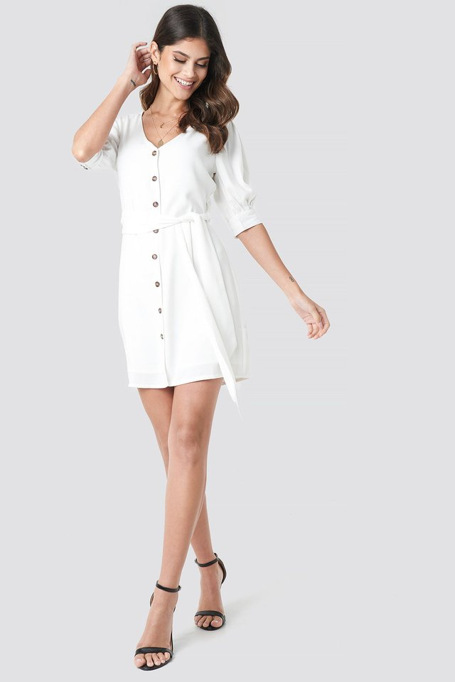 Button Down Balloon Sleeve Dress Outfit