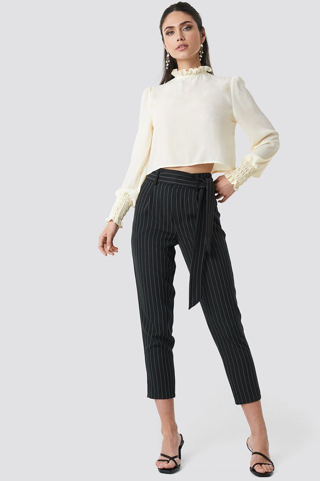 Striped Tied Waist Pants Outfit