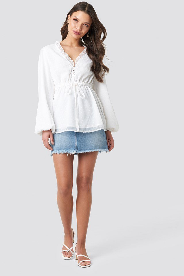 Frilled Neck Chiffon Blouse White Outfit