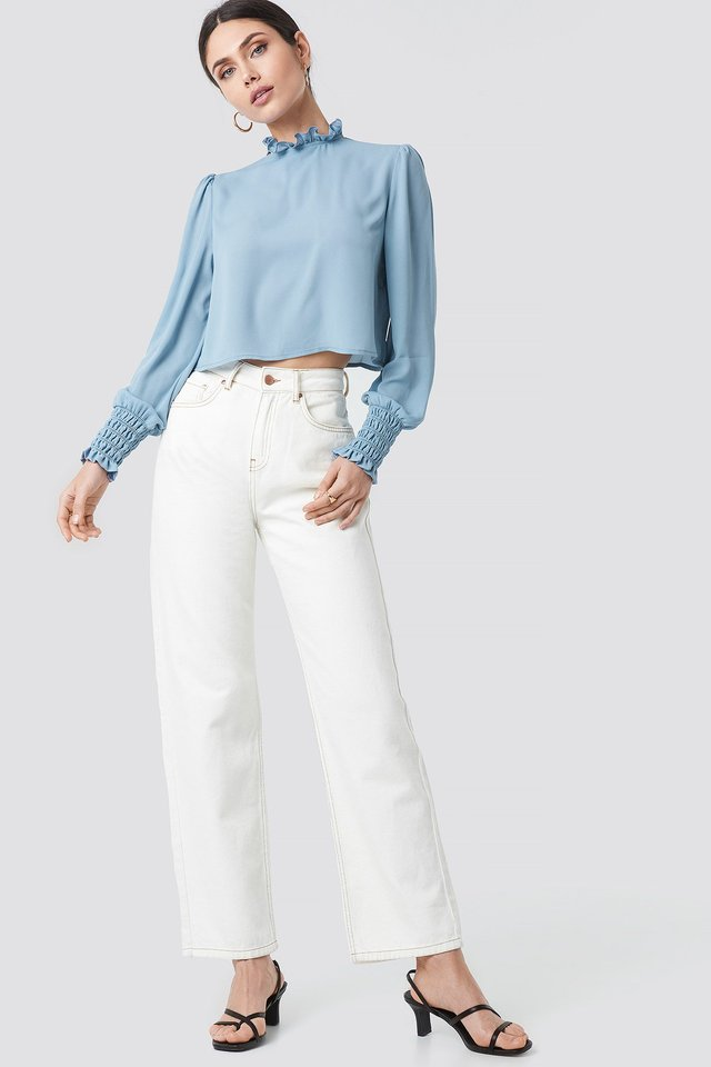 Frill High Neck Blouse Outfit