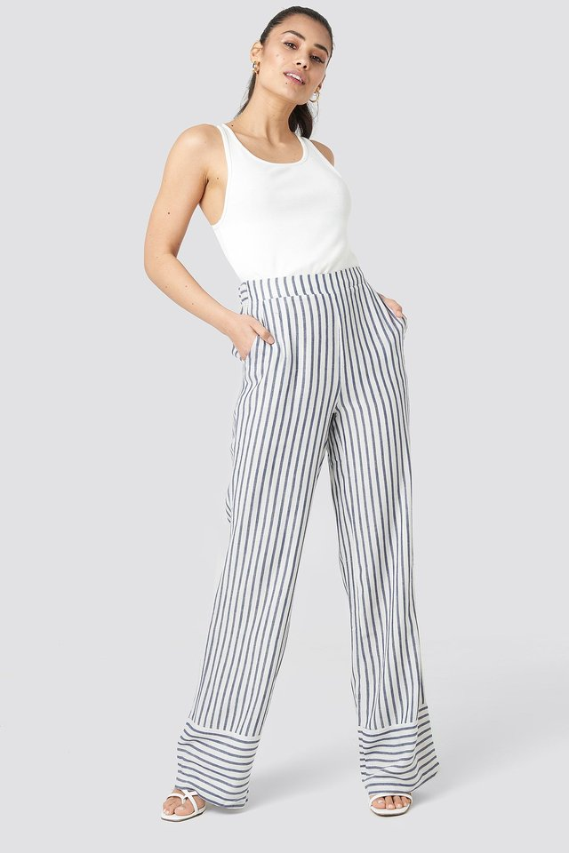 Yol Stripe Wide Pants Outfit.