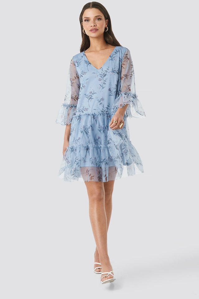 Ruffle Mesh Mini Dress Outfit
