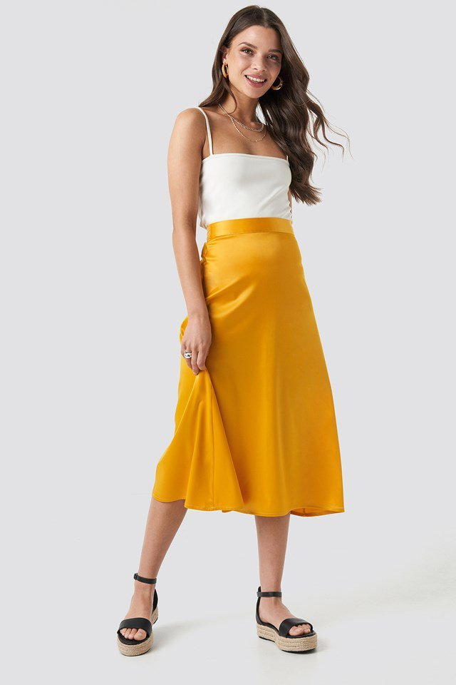 Bias Cut Satin Midi Skirt Outfit.