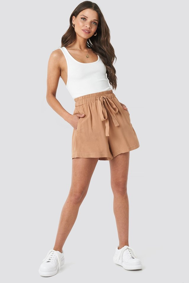 Tan Belted Flowing Shorts