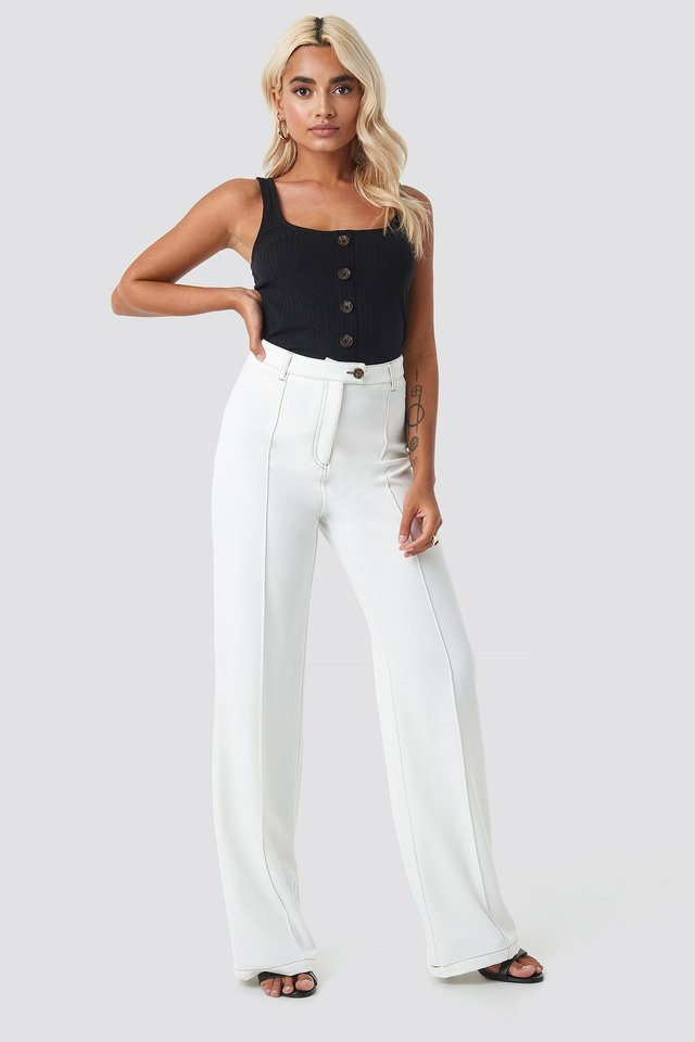 Black Ribbed Cropped Button Top