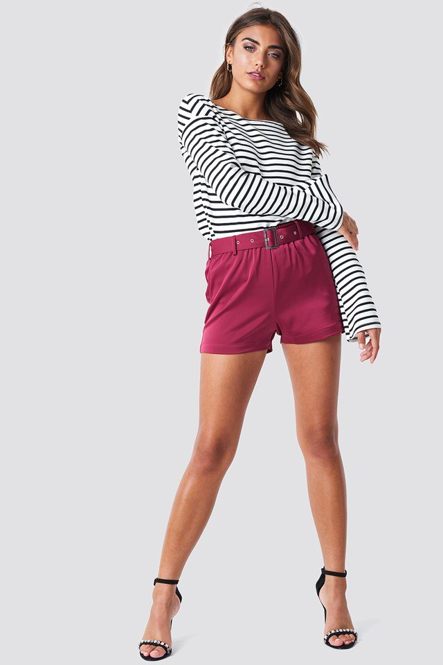 Satin Shorts with Striped Top
