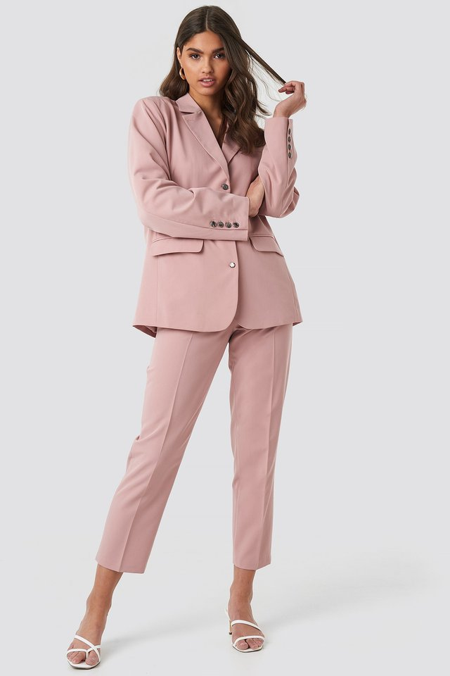Shiny Button Blazer Pink Outfit