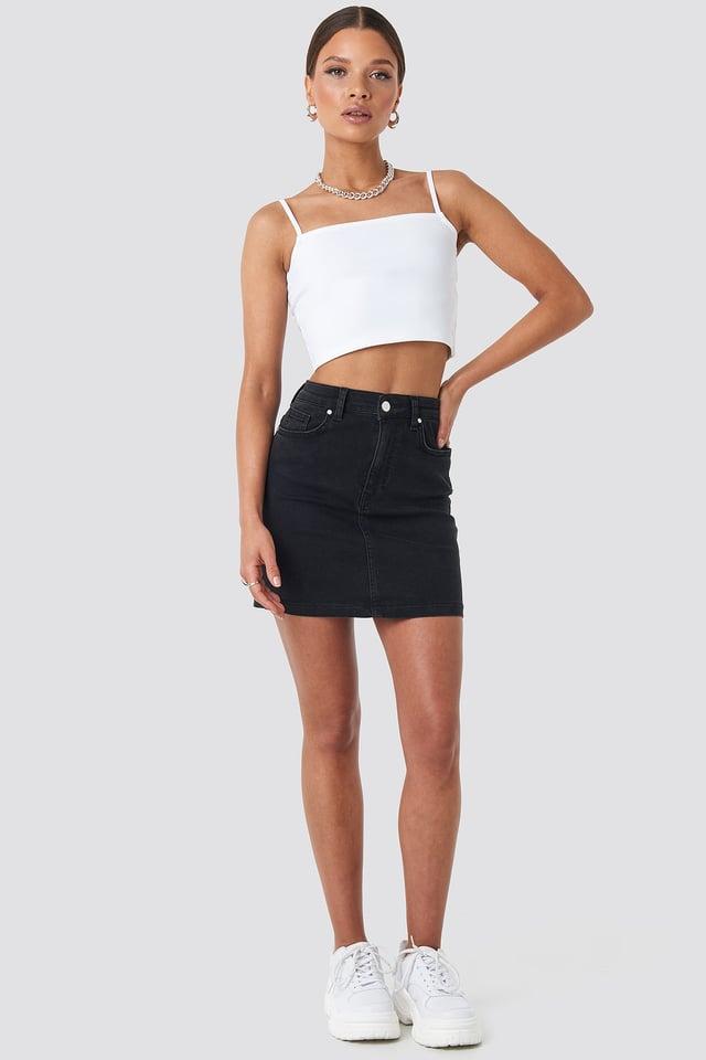 Mini Denim Skirt Black Outfit