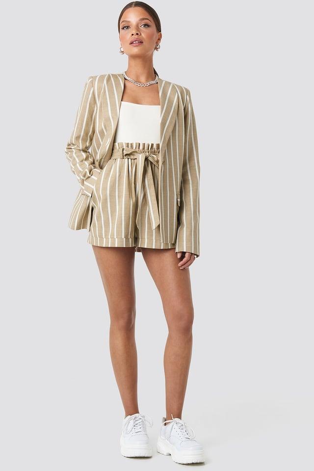 Straight Cut Blazer Beige Outfit