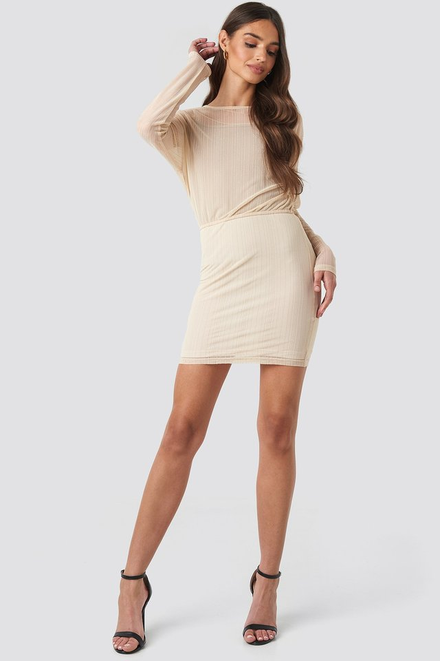 Glitter Detail Mini Dress Beige Outfit