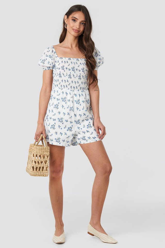 Square Neck Shirred Playsuit Blue Outfit
