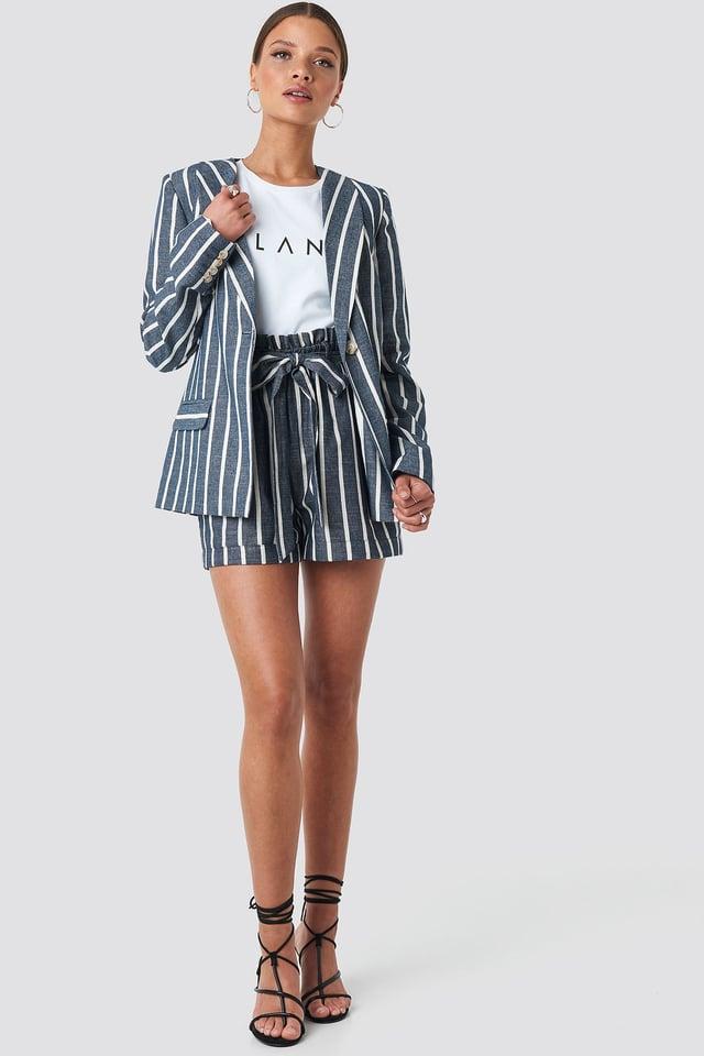 Blue/White Stripe Straight Cut Blazer