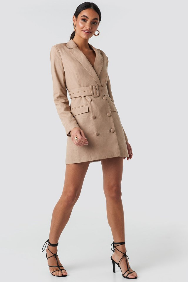 Linen Blazer Dress Beige Outfit