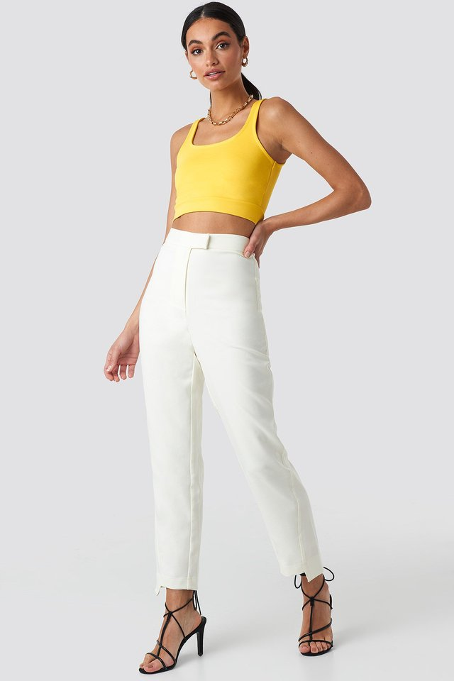 Asymmetrical Hem Suit Pants White Outfit