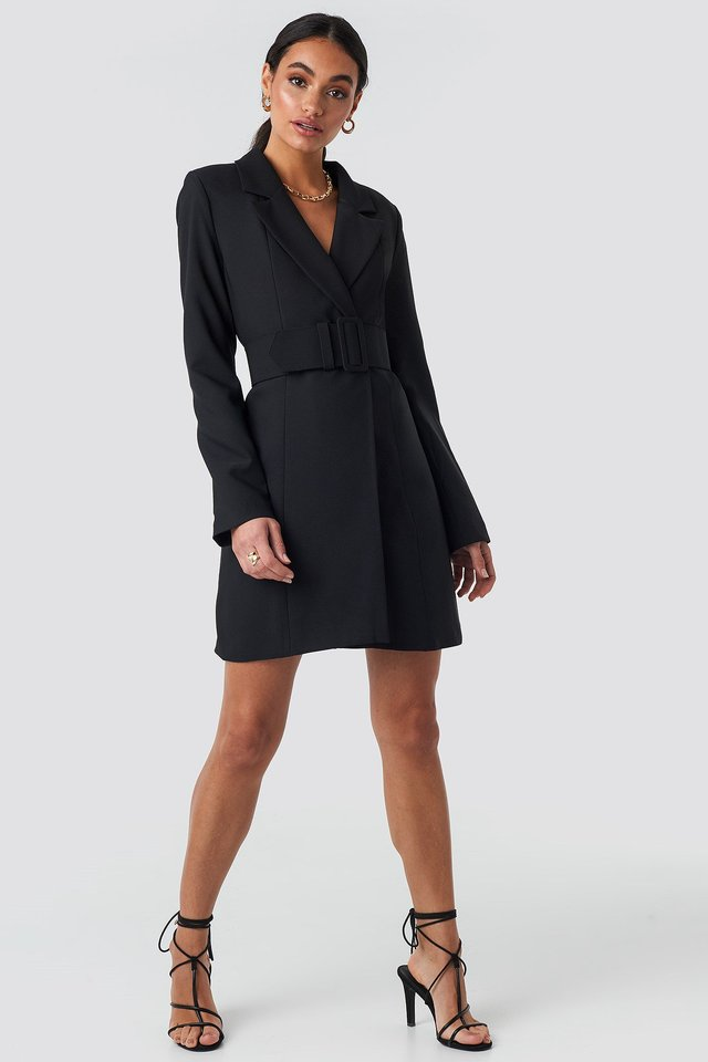 Wide Belted Blazer Dress Black Outfit