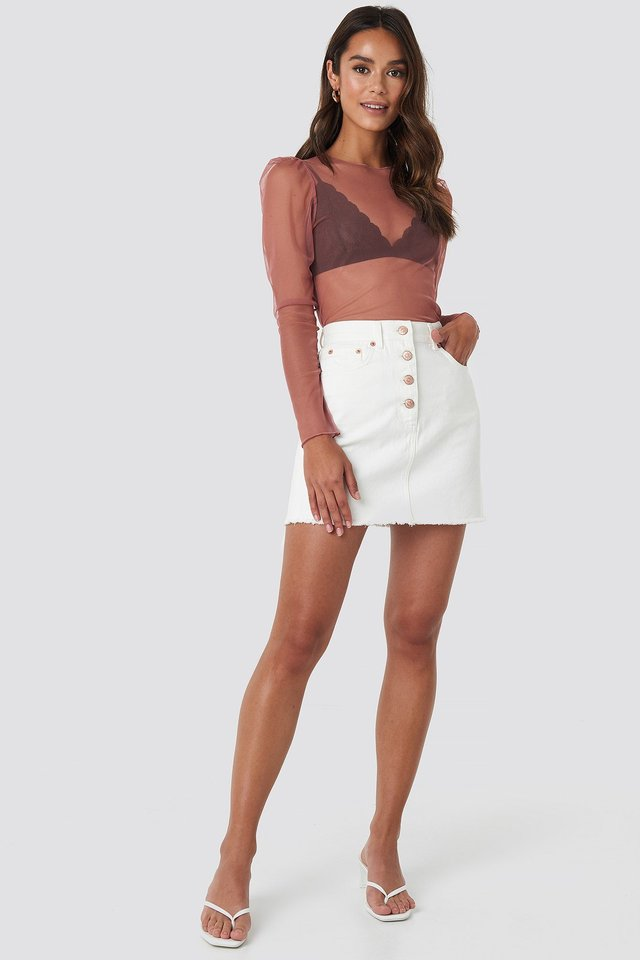 Mesh Puff Sleeve Top Pink Outfit